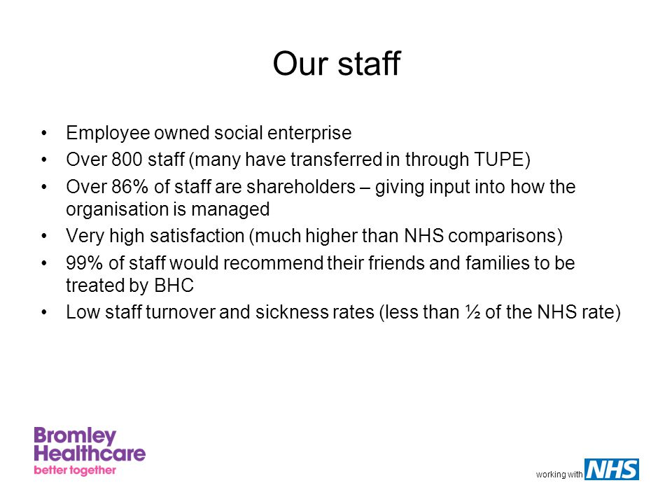 working with Our staff Employee owned social enterprise Over 800 staff (many have transferred in through TUPE) Over 86% of staff are shareholders – giving input into how the organisation is managed Very high satisfaction (much higher than NHS comparisons) 99% of staff would recommend their friends and families to be treated by BHC Low staff turnover and sickness rates (less than ½ of the NHS rate)