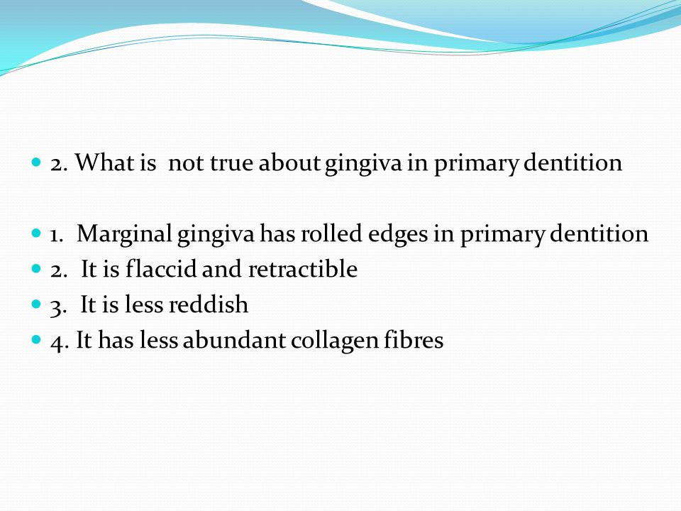2. What is not true about gingiva in primary dentition 1. Marginal gingiva has rolled edges in primary dentition 2. It is flaccid and retractible 3. I