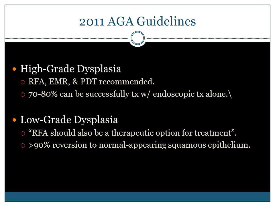 2011 AGA Guidelines High-Grade Dysplasia  RFA, EMR, & PDT recommended.