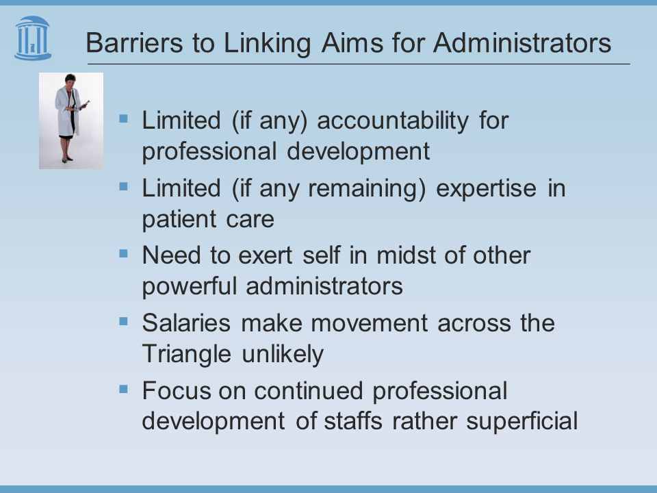 Barriers to Linking Aims for Administrators  Limited (if any) accountability for professional development  Limited (if any remaining) expertise in patient care  Need to exert self in midst of other powerful administrators  Salaries make movement across the Triangle unlikely  Focus on continued professional development of staffs rather superficial
