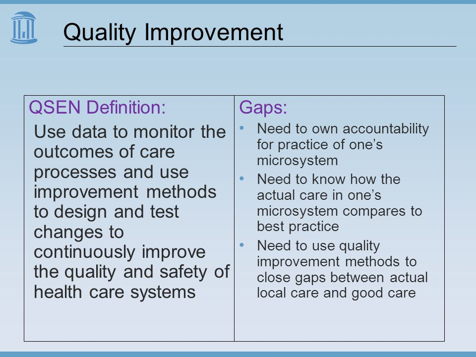 Quality Improvement QSEN Definition: Use data to monitor the outcomes of care processes and use improvement methods to design and test changes to continuously improve the quality and safety of health care systems Gaps: Need to own accountability for practice of one's microsystem Need to know how the actual care in one's microsystem compares to best practice Need to use quality improvement methods to close gaps between actual local care and good care