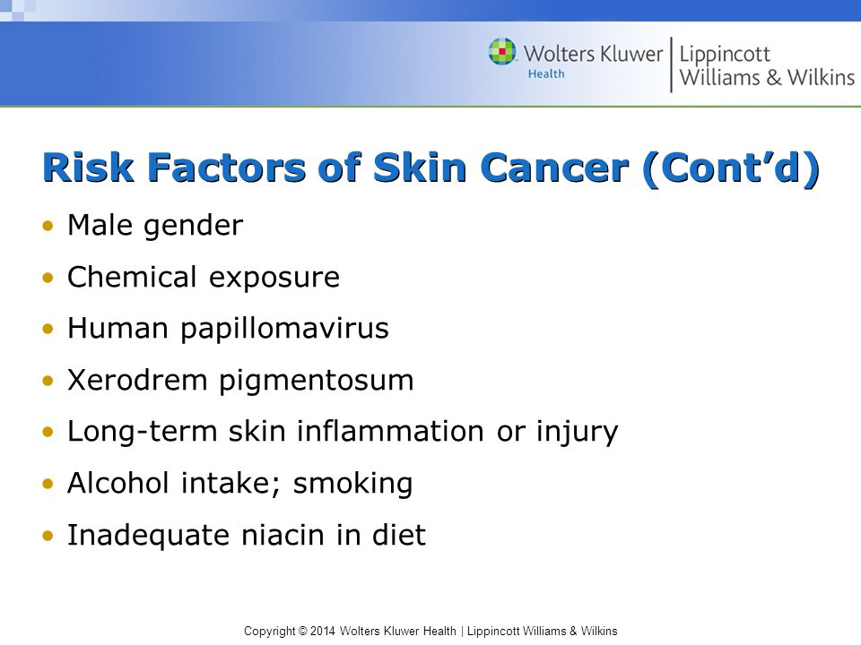 Copyright © 2014 Wolters Kluwer Health | Lippincott Williams & Wilkins Risk Factors of Skin Cancer (Cont'd) Male gender Chemical exposure Human papill