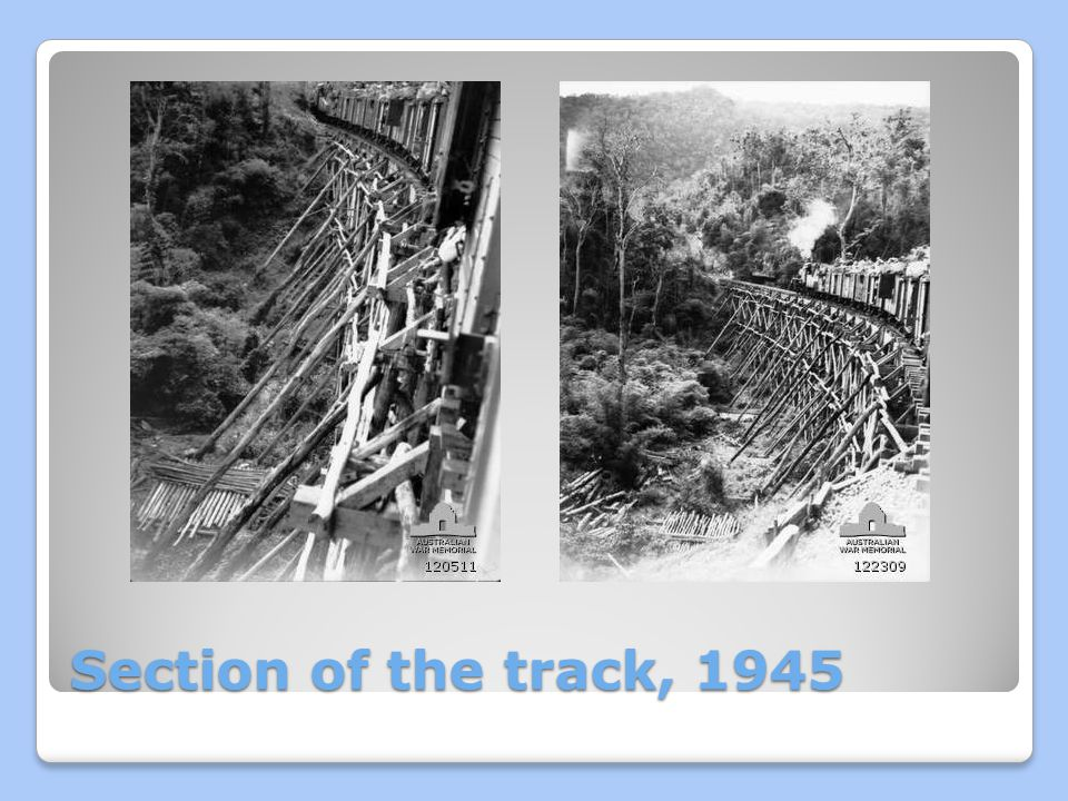 Section of the track, 1945