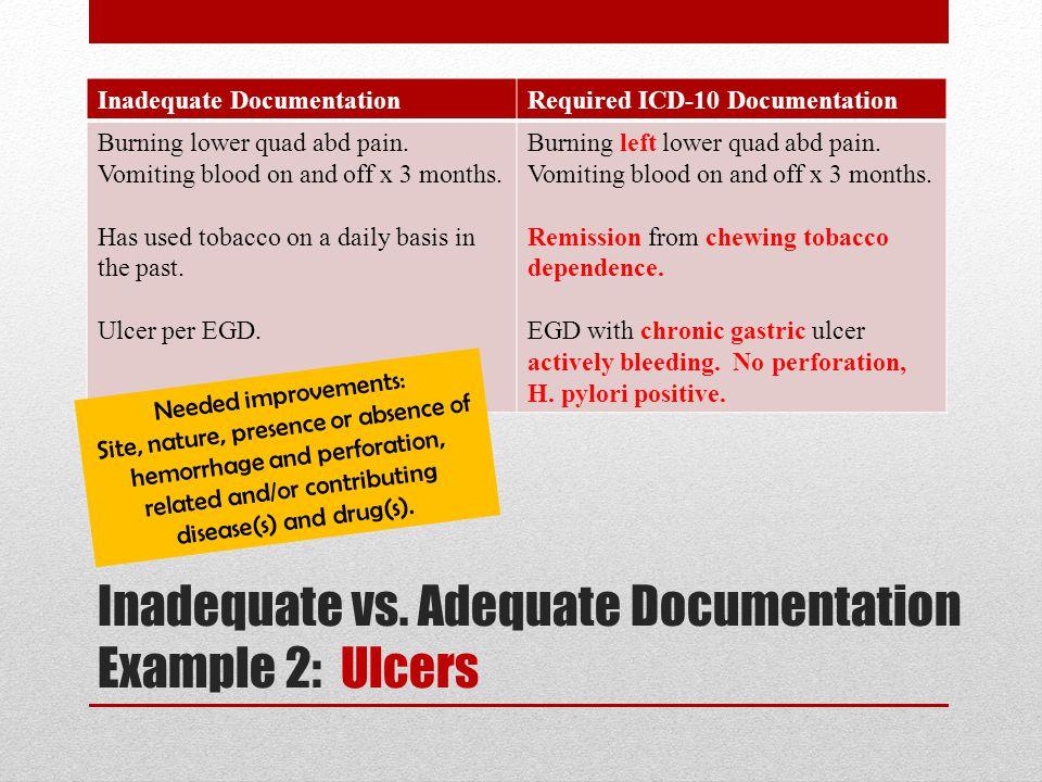 Inadequate vs. Adequate Documentation Example 2: Ulcers Inadequate DocumentationRequired ICD-10 Documentation Burning lower quad abd pain. Vomiting bl