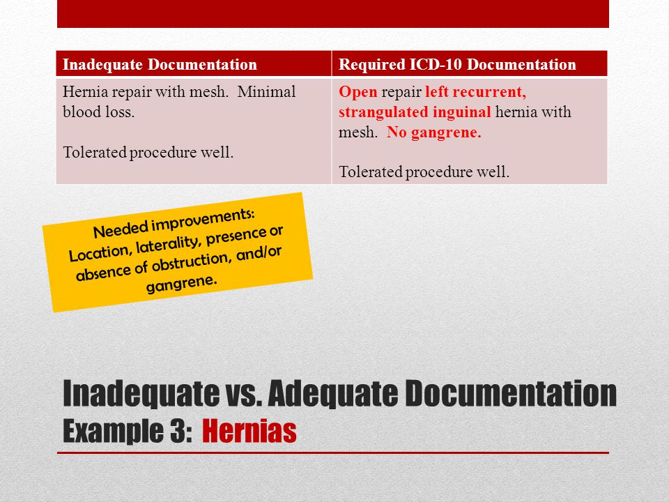 Inadequate DocumentationRequired ICD-10 Documentation Hernia repair with mesh. Minimal blood loss. Tolerated procedure well. Open repair left recurren