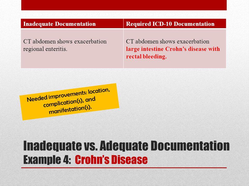 Inadequate DocumentationRequired ICD-10 Documentation CT abdomen shows exacerbation regional enteritis. CT abdomen shows exacerbation large intestine