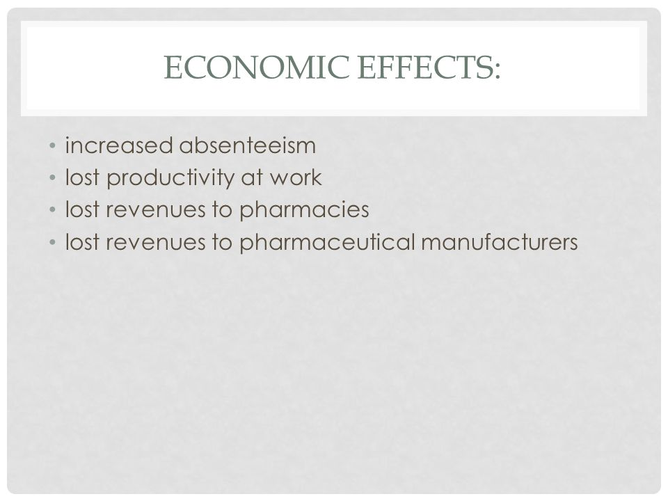 ECONOMIC EFFECTS: increased absenteeism lost productivity at work lost revenues to pharmacies lost revenues to pharmaceutical manufacturers
