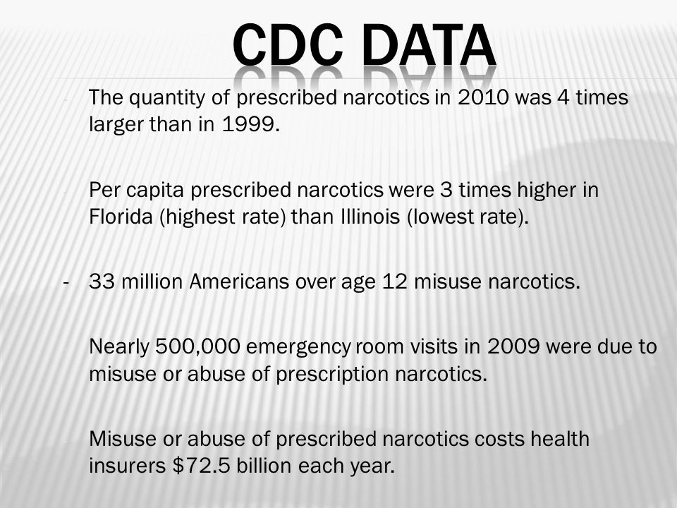 - The quantity of prescribed narcotics in 2010 was 4 times larger than in 1999.