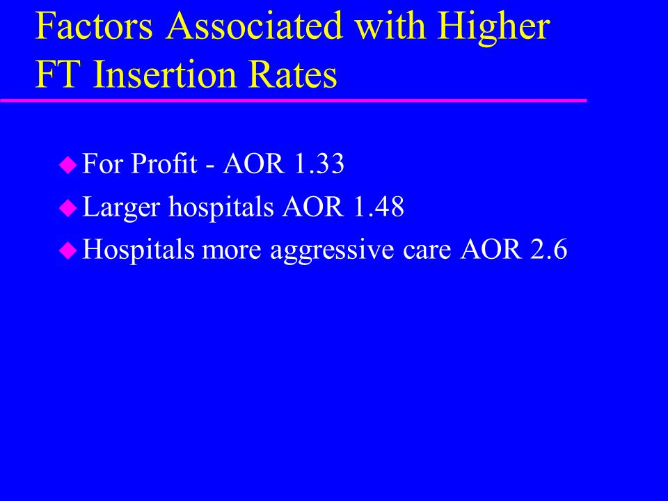 Factors Associated with Higher FT Insertion Rates u For Profit - AOR 1.33 u Larger hospitals AOR 1.48 u Hospitals more aggressive care AOR 2.6