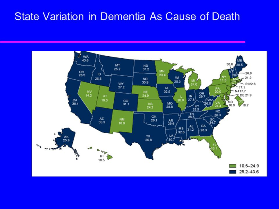 State Variation in Dementia As Cause of Death
