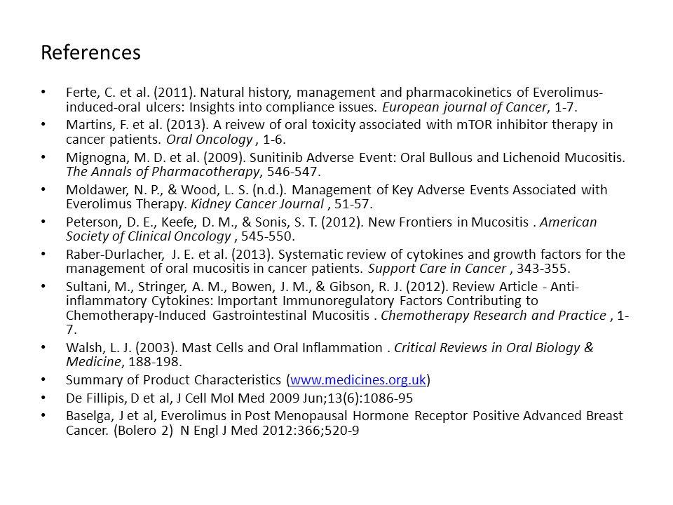 References Ferte, C. et al. (2011).