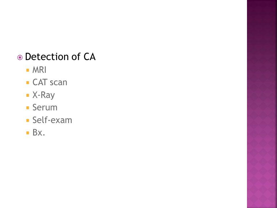  Detection of CA  MRI  CAT scan  X-Ray  Serum  Self-exam  Bx.