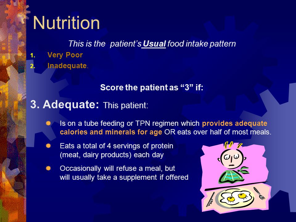 """Nutrition This is the patient's Usual food intake pattern 1. Very Poor 2. Inadequate. Score the patient as """"3"""" if: 3. Adequate: This patient:  Is on"""