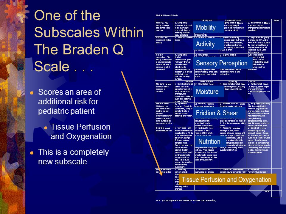 One of the Subscales Within The Braden Q Scale...  Scores an area of additional risk for pediatric patient  Tissue Perfusion and Oxygenation  This