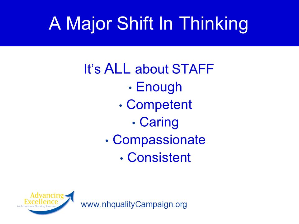 www.nhqualityCampaign.org A Major Shift In Thinking It's ALL about STAFF Enough Competent Caring Compassionate Consistent