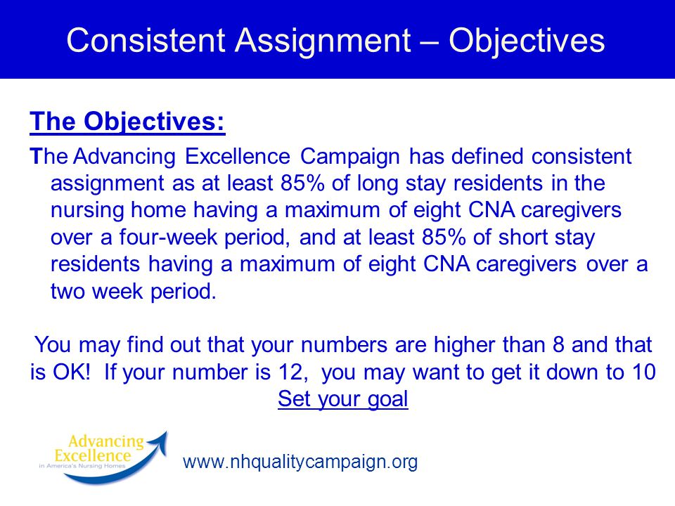 Consistent Assignment – Objectives The Objectives: The Advancing Excellence Campaign has defined consistent assignment as at least 85% of long stay re
