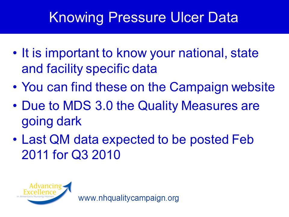 Knowing Pressure Ulcer Data It is important to know your national, state and facility specific data You can find these on the Campaign website Due to