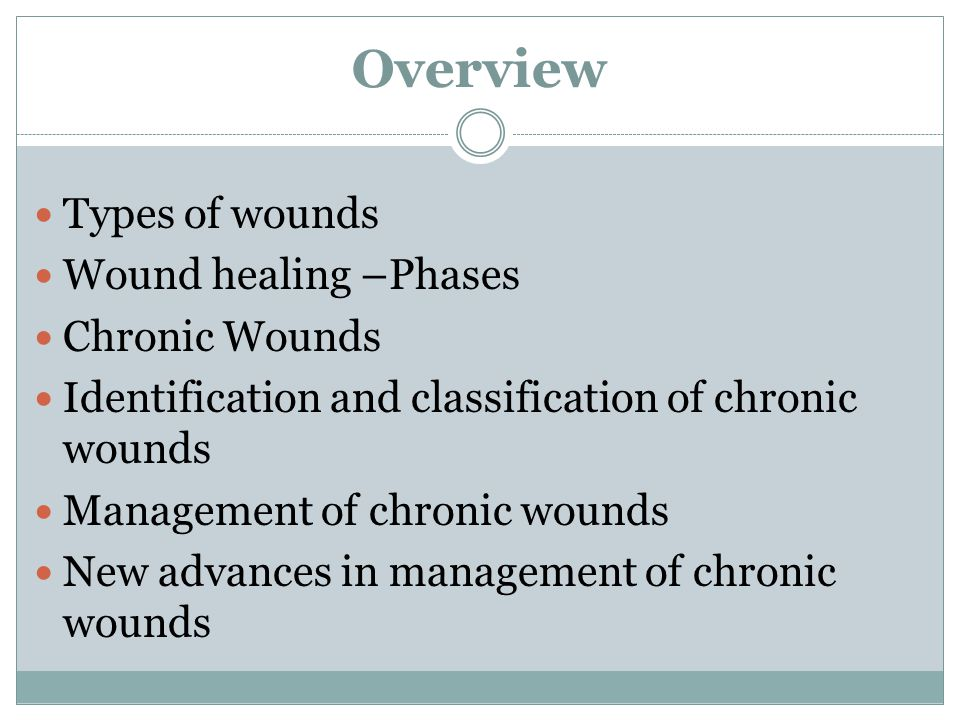 Overview Types of wounds Wound healing –Phases Chronic Wounds Identification and classification of chronic wounds Management of chronic wounds New adv