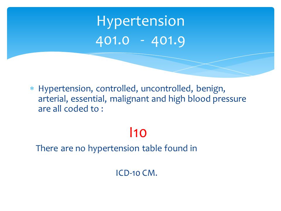  Hypertension, controlled, uncontrolled, benign, arterial, essential, malignant and high blood pressure are all coded to : I10 There are no hypertens