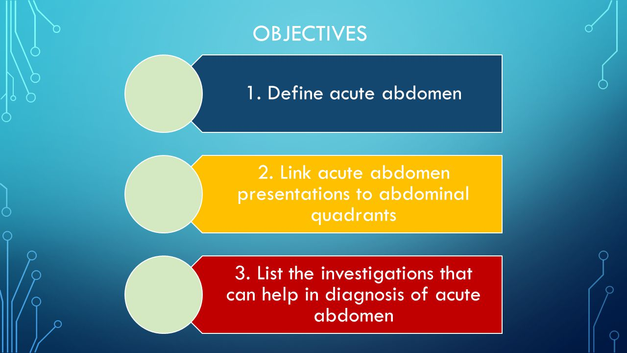 OBJECTIVES 1. Define acute abdomen 2. Link acute abdomen presentations to abdominal quadrants 3.