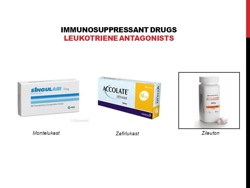 IMMUNOSUPPRESSANT DRUGS LEUKOTRIENE ANTAGONISTS Montelukast Zafirlukast Zileuton