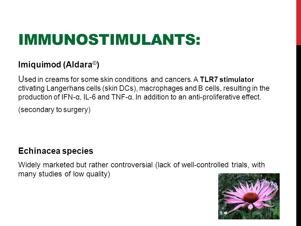 IMMUNOSTIMULANTS: Imiquimod (Aldara © ) U sed in creams for some skin conditions and cancers.