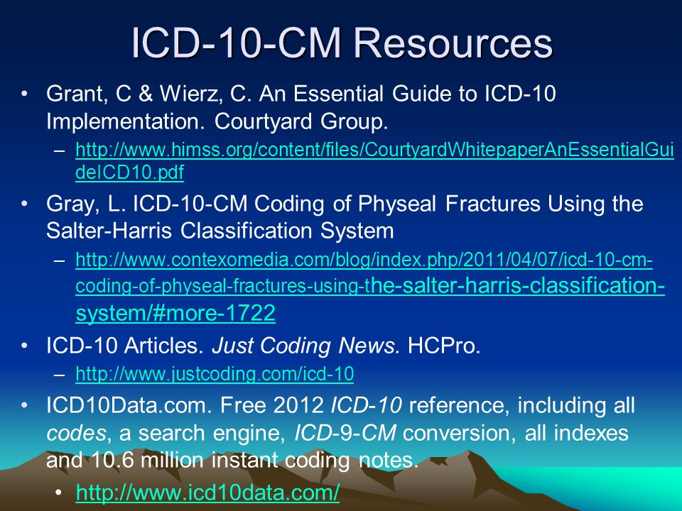 ICD-10-CM Resources Grant, C & Wierz, C. An Essential Guide to ICD-10 Implementation. Courtyard Group. –http://www.himss.org/content/files/CourtyardWh