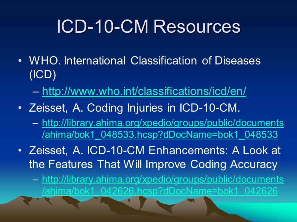 ICD-10-CM Resources WHO.