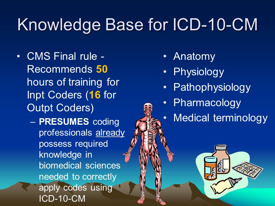 Knowledge Base for ICD-10-CM CMS Final rule - Recommends 50 hours of training for Inpt Coders (16 for Outpt Coders) –PRESUMES coding professionals already possess required knowledge in biomedical sciences needed to correctly apply codes using ICD-10-CM Anatomy Physiology Pathophysiology Pharmacology Medical terminology