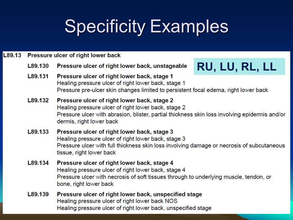 Specificity Examples RU, LU, RL, LL