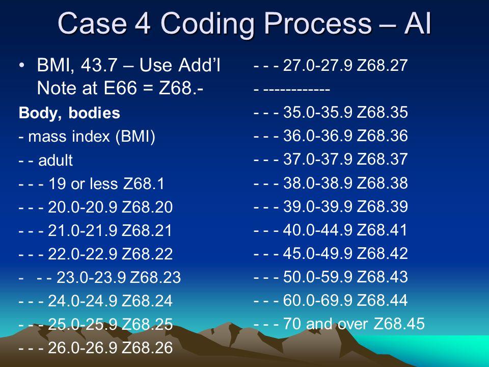 Case 4 Coding Process – AI BMI, 43.7 – Use Add'l Note at E66 = Z68.- Body, bodies - mass index (BMI) - - adult - - - 19 or less Z68.1 - - - 20.0-20.9 Z68.20 - - - 21.0-21.9 Z68.21 - - - 22.0-22.9 Z68.22 -- - 23.0-23.9 Z68.23 - - - 24.0-24.9 Z68.24 - - - 25.0-25.9 Z68.25 - - - 26.0-26.9 Z68.26 - - - 27.0-27.9 Z68.27 - ------------ - - - 35.0-35.9 Z68.35 - - - 36.0-36.9 Z68.36 - - - 37.0-37.9 Z68.37 - - - 38.0-38.9 Z68.38 - - - 39.0-39.9 Z68.39 - - - 40.0-44.9 Z68.41 - - - 45.0-49.9 Z68.42 - - - 50.0-59.9 Z68.43 - - - 60.0-69.9 Z68.44 - - - 70 and over Z68.45