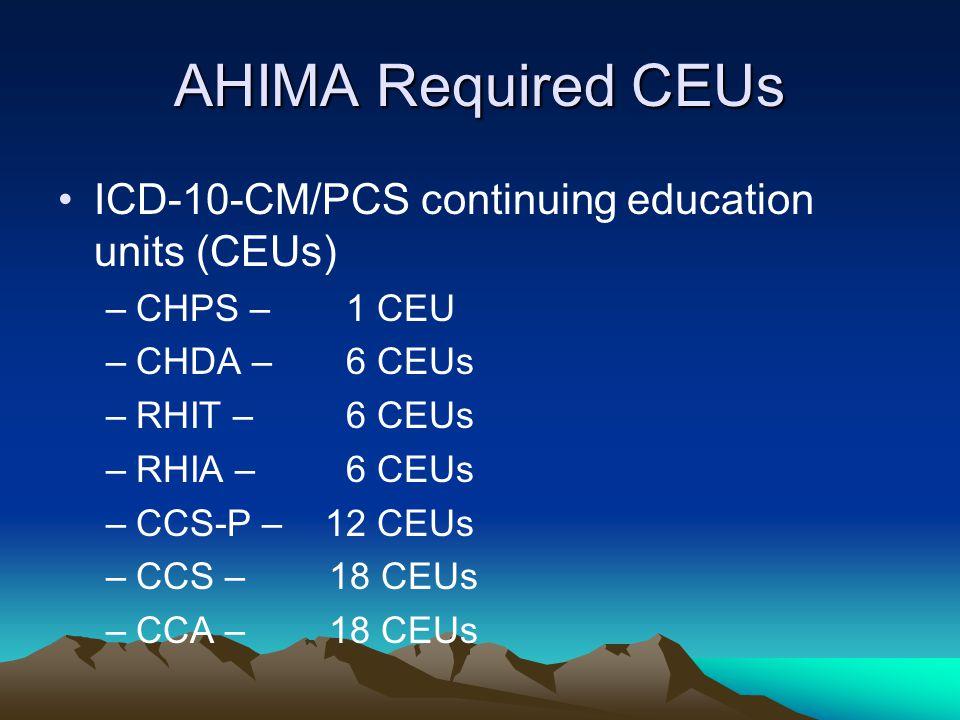 AHIMA Required CEUs ICD-10-CM/PCS continuing education units (CEUs) –CHPS – 1 CEU –CHDA – 6 CEUs –RHIT – 6 CEUs –RHIA – 6 CEUs –CCS-P – 12 CEUs –CCS – 18 CEUs –CCA – 18 CEUs