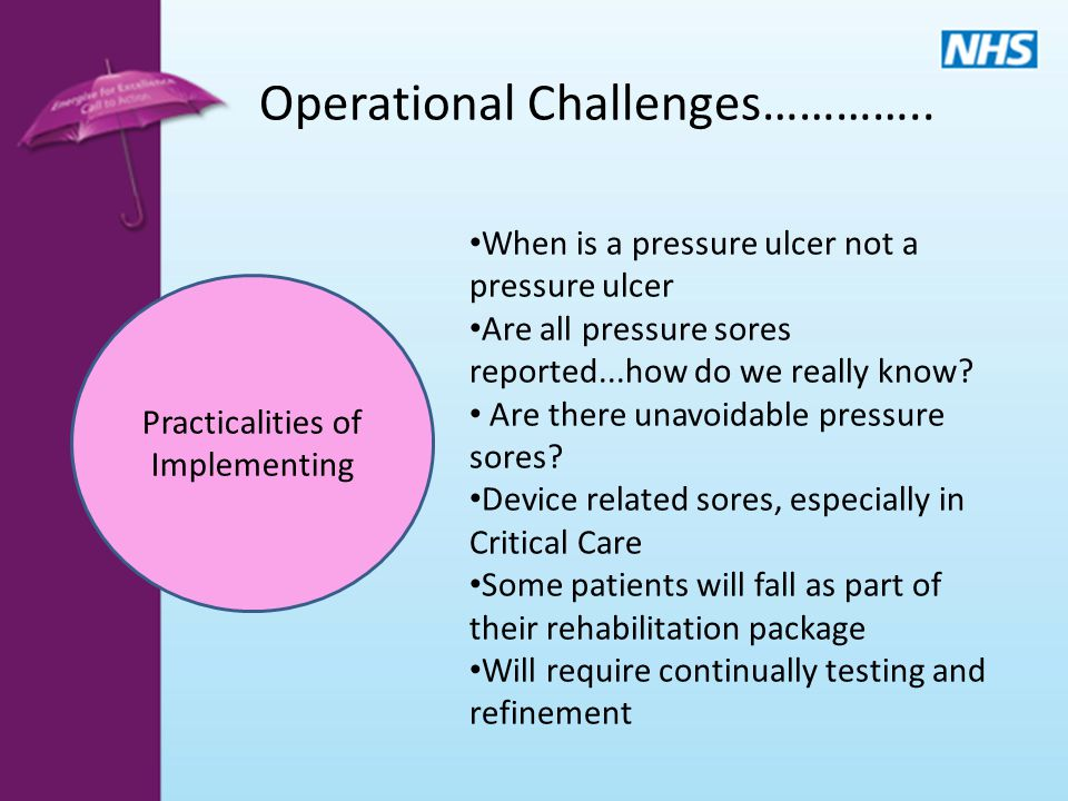 Practicalities of Implementing Operational Challenges………….. When is a pressure ulcer not a pressure ulcer Are all pressure sores reported...how do we