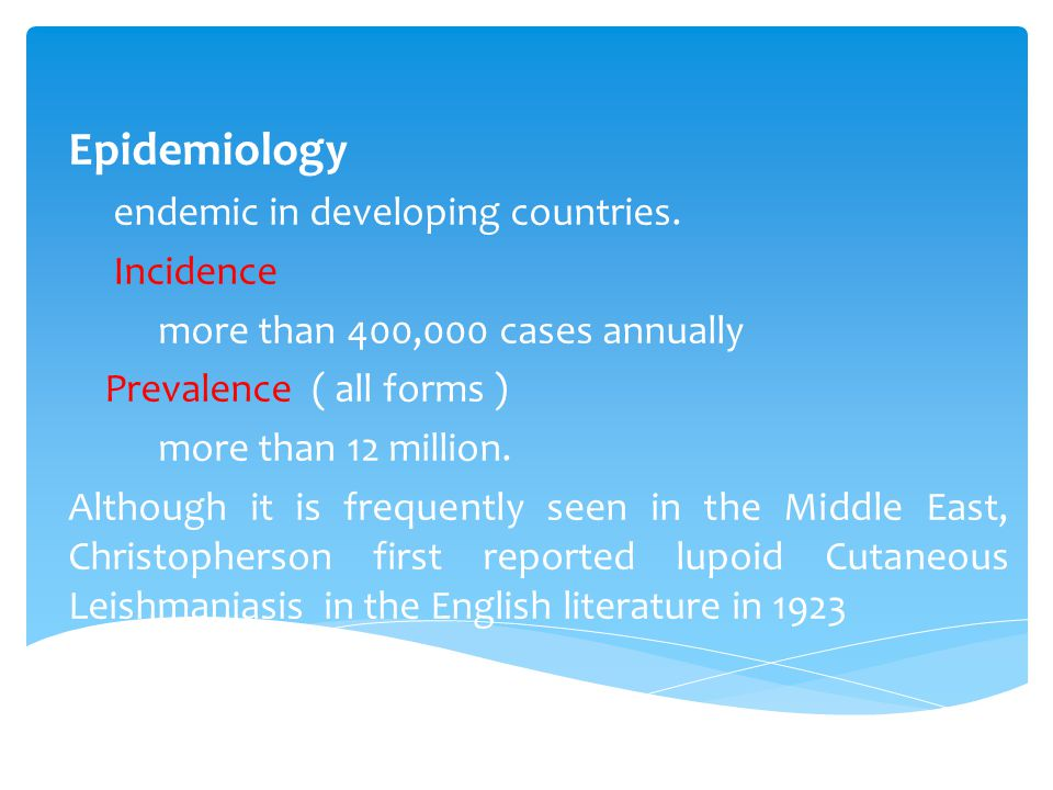 Epidemiology endemic in developing countries.