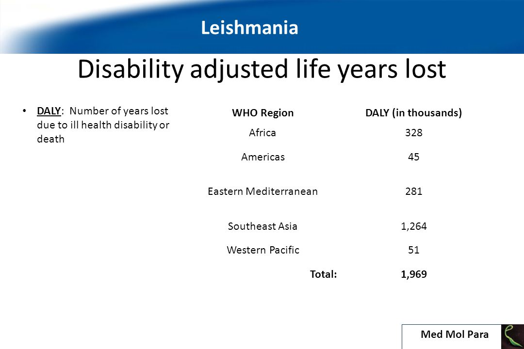Disability adjusted life years lost WHO RegionDALY (in thousands) Africa328 Americas45 Eastern Mediterranean281 Southeast Asia1,264 Western Pacific51