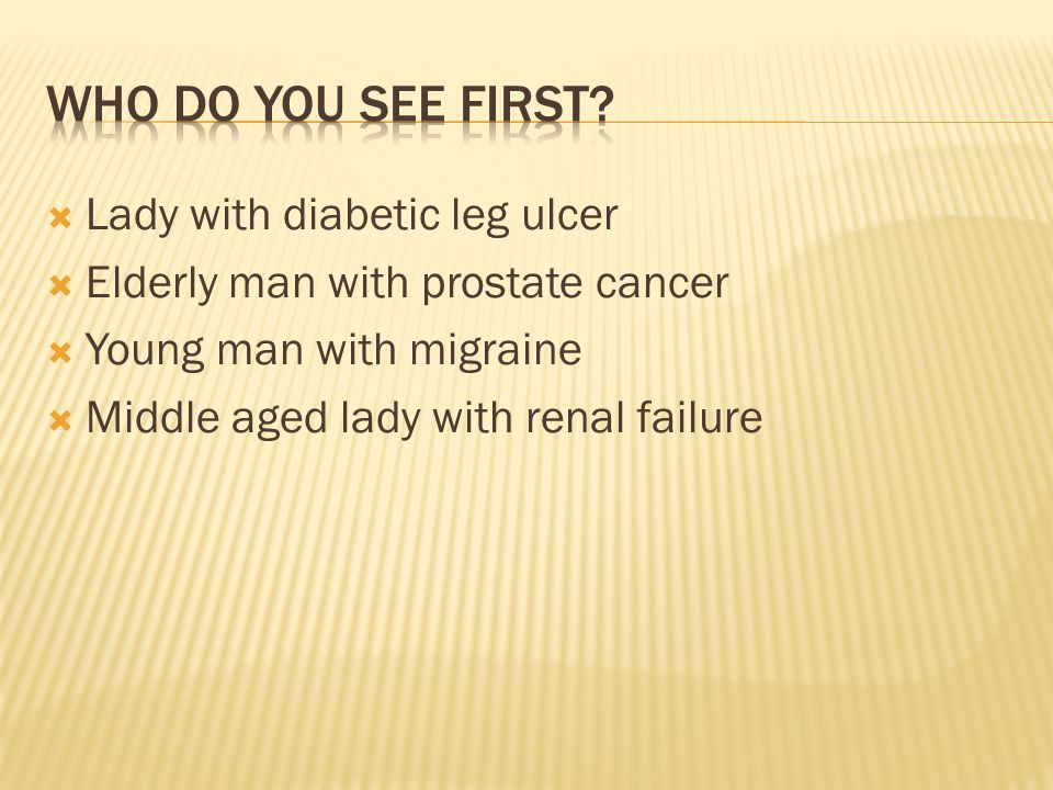  Lady with diabetic leg ulcer  Elderly man with prostate cancer  Young man with migraine  Middle aged lady with renal failure