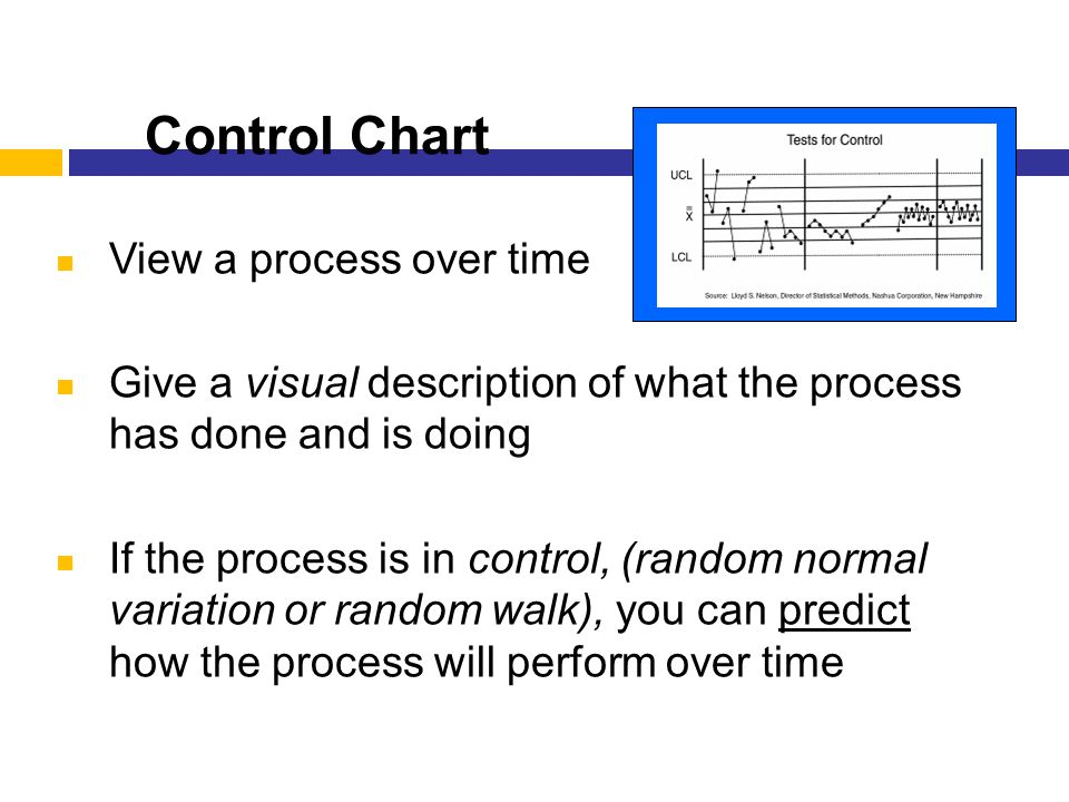 Control Chart 41 View a process over time Give a visual description of what the process has done and is doing If the process is in control, (random no