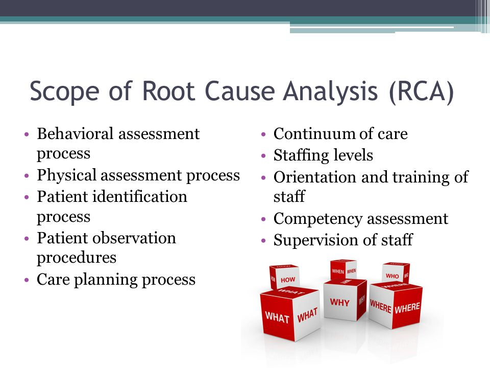 Scope of Root Cause Analysis (RCA) Behavioral assessment process Physical assessment process Patient identification process Patient observation proced