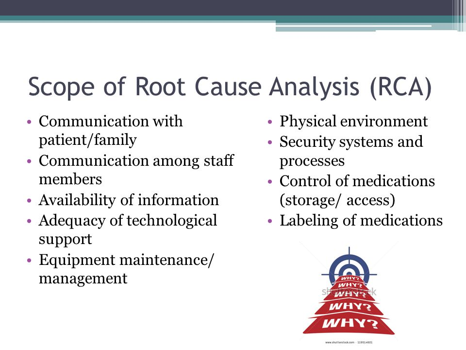 Scope of Root Cause Analysis (RCA) Communication with patient/family Communication among staff members Availability of information Adequacy of technol