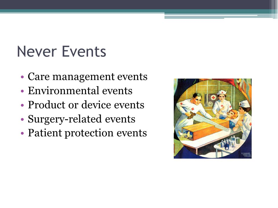 Never Events Care management events Environmental events Product or device events Surgery-related events Patient protection events