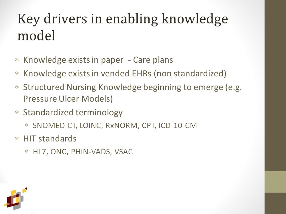 Key drivers in enabling knowledge model  Knowledge exists in paper - Care plans  Knowledge exists in vended EHRs (non standardized)  Structured Nursing Knowledge beginning to emerge (e.g.