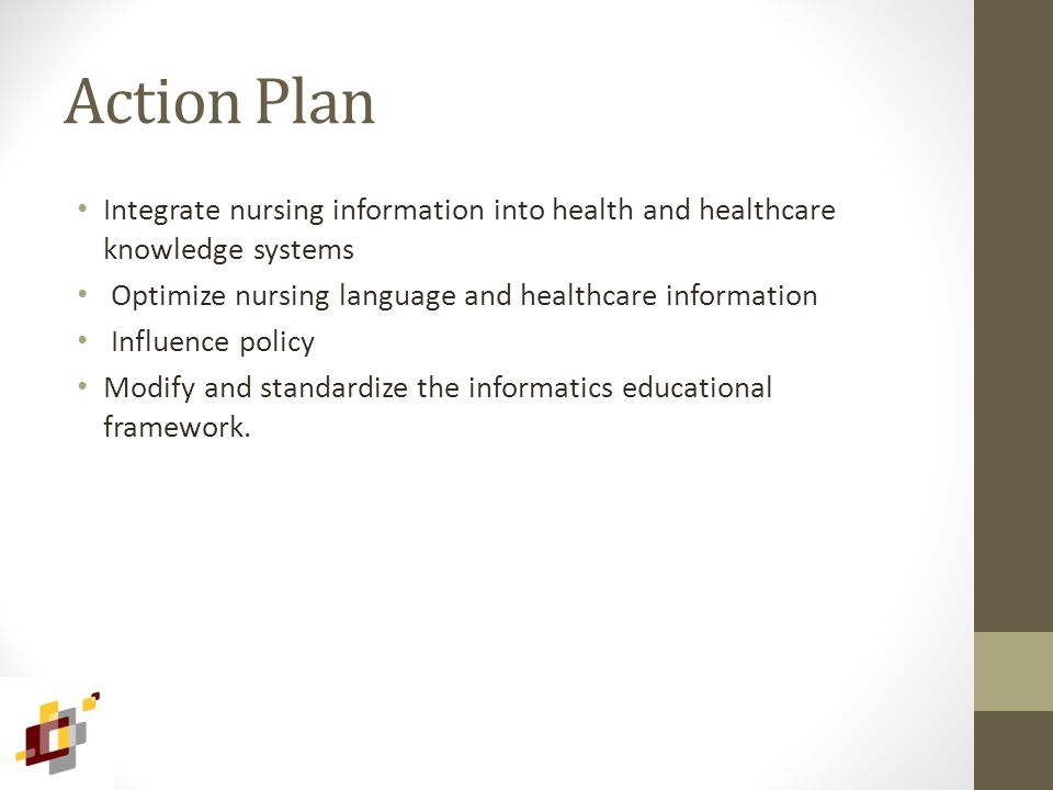 Action Plan Integrate nursing information into health and healthcare knowledge systems Optimize nursing language and healthcare information Influence