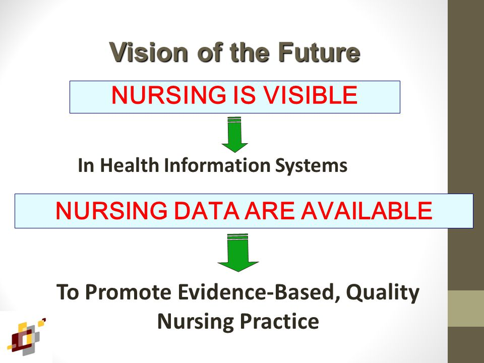 NURSING IS VISIBLE Vision of the Future In Health Information Systems NURSING DATA ARE AVAILABLE To Promote Evidence-Based, Quality Nursing Practice