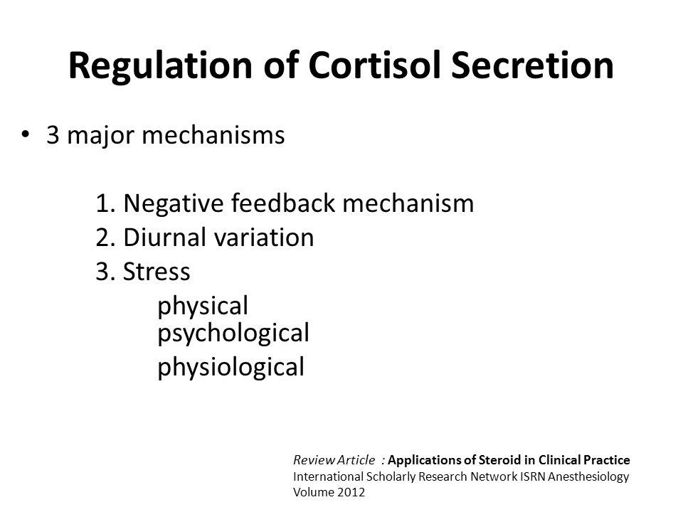 Regulation of Cortisol Secretion 3 major mechanisms 1.