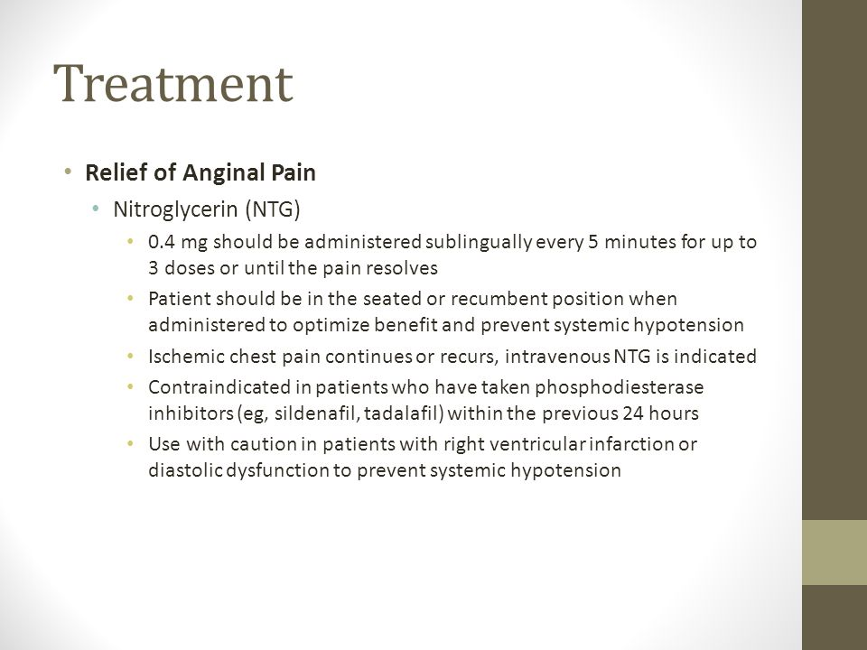 Treatment Relief of Anginal Pain Nitroglycerin (NTG) 0.4 mg should be administered sublingually every 5 minutes for up to 3 doses or until the pain re