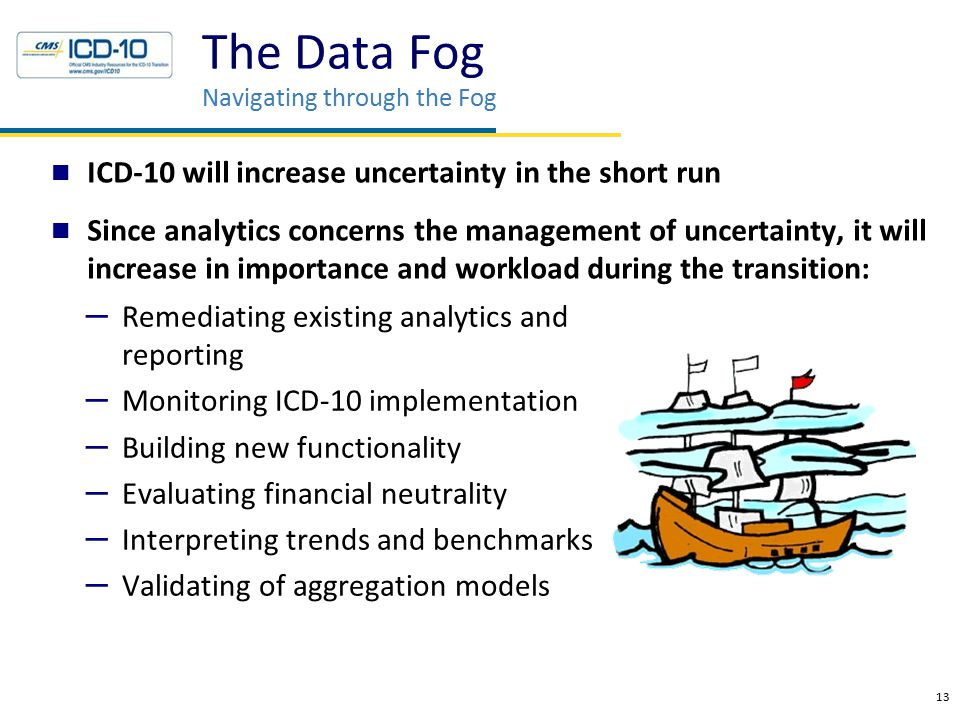 13 ICD-10 will increase uncertainty in the short run Since analytics concerns the management of uncertainty, it will increase in importance and worklo
