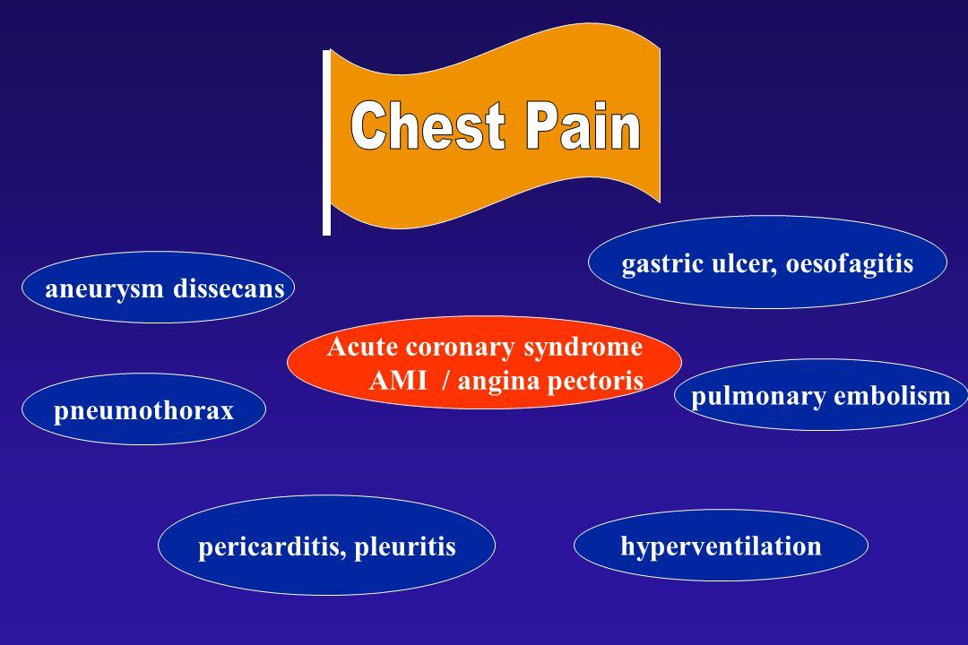 Thoracic pain aneurysm dissecans Acute coronary syndrome AMI / angina pectoris pneumothorax pericarditis, pleuritis gastric ulcer, oesofagitis pulmonary embolism hyperventilation