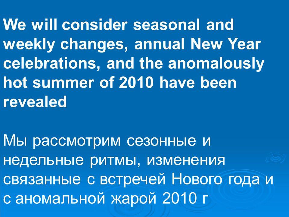 We will consider seasonal and weekly changes, annual New Year celebrations, and the anomalously hot summer of 2010 have been revealed Мы рассмотрим сезонные и недельные ритмы, изменения связанные с встречей Нового года и с аномальной жарой 2010 г