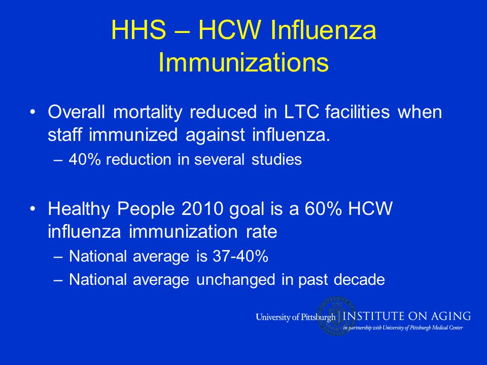 HHS – HCW Influenza Immunizations Overall mortality reduced in LTC facilities when staff immunized against influenza.
