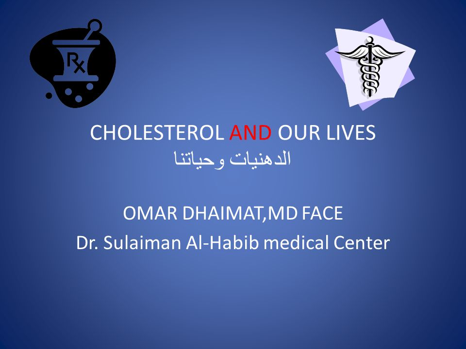 CHOLESTEROL AND OUR LIVES الدهنيات وحياتنا OMAR DHAIMAT,MD FACE Dr. Sulaiman Al-Habib medical Center